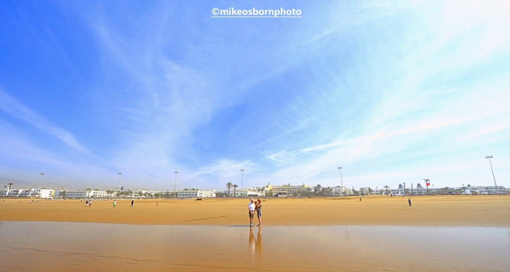 European couple on beach at Agadir, Morocco