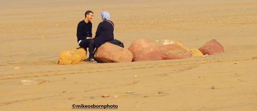 Couple on Agadir beach, Morocco