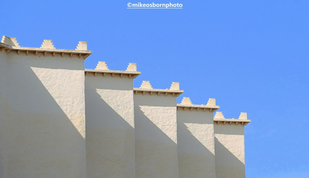 Modern Moroccan architecture in the sun's shadows