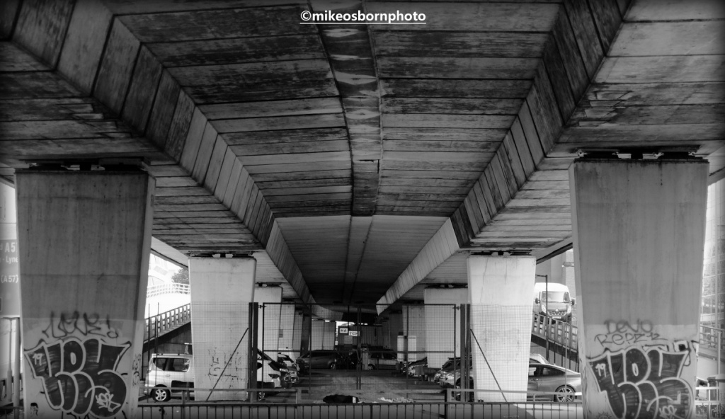 Underside of Mancunian Way road, Manchester