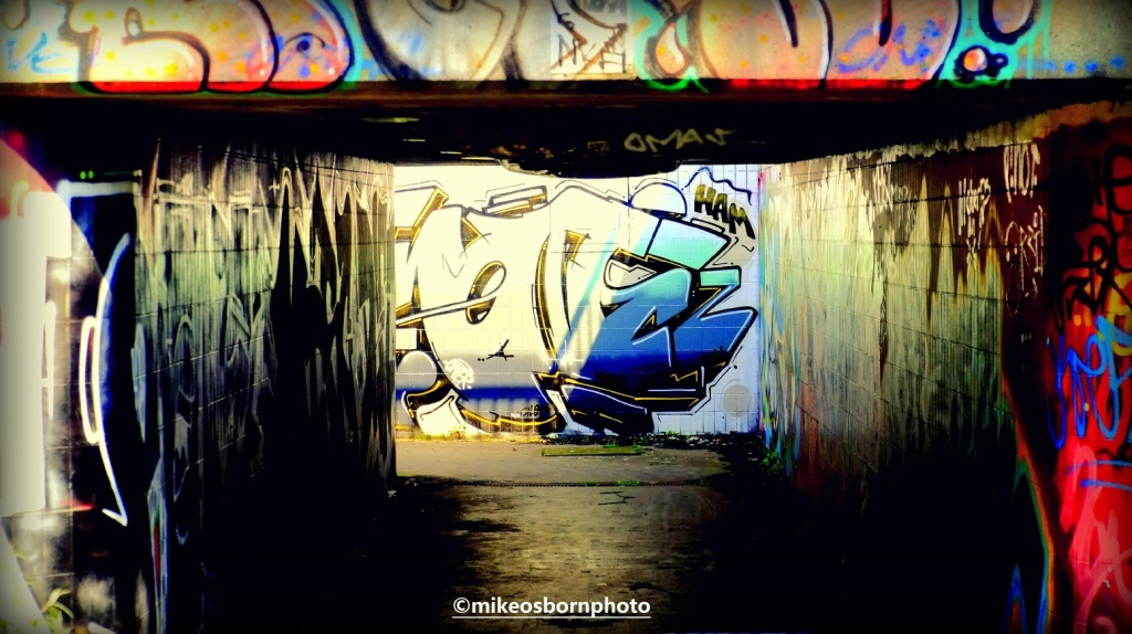 Graffiti on underpass at Hulme, Manchester