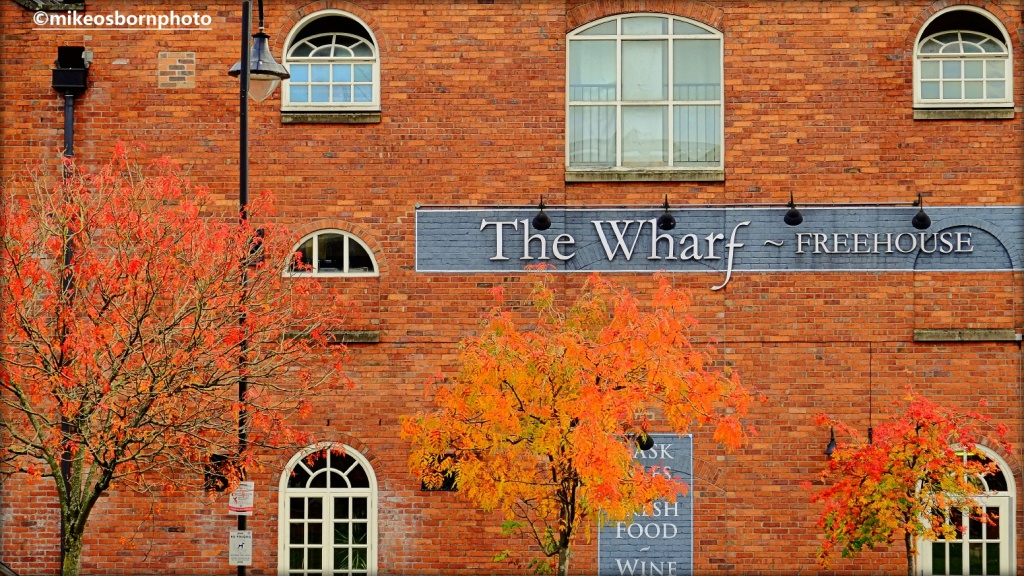 The Wharf pub in Castlefield, Manchester in autumn