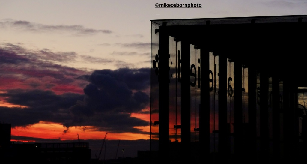 Sunset at Deansgate-Castlefield tram stop in Manchester