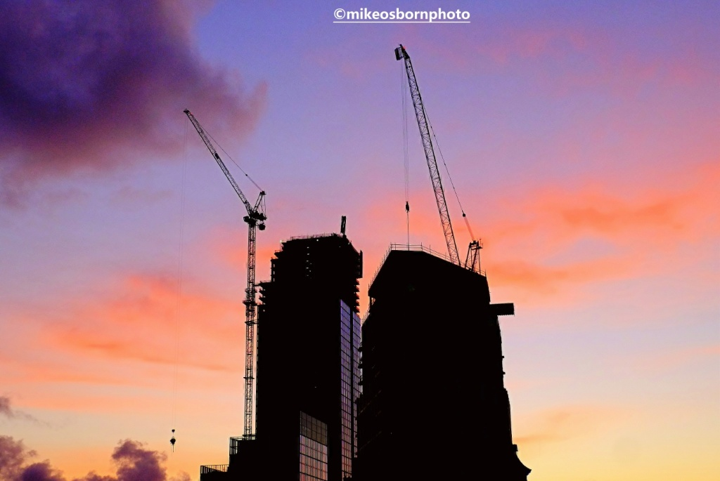 Deansgate Manchester new buildings at sunset
