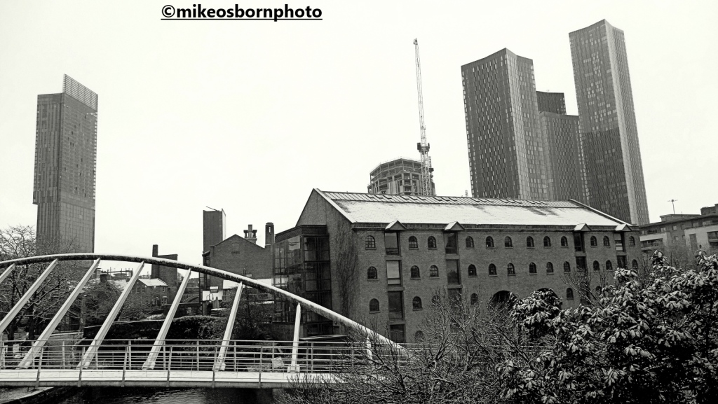 Castlefield and Deansgate Square after a snowfall