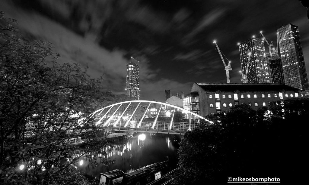 Castlefield and Deansgate Square at night