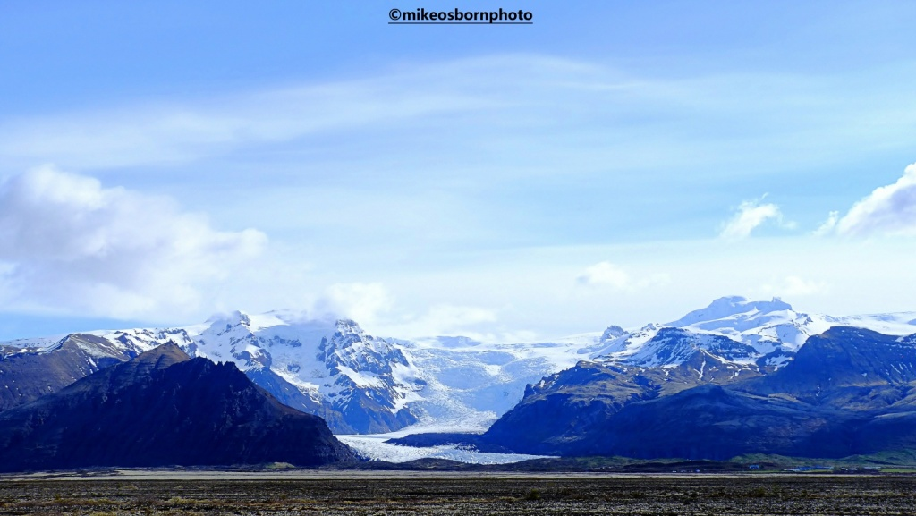 View of glacial mountains, Iceland