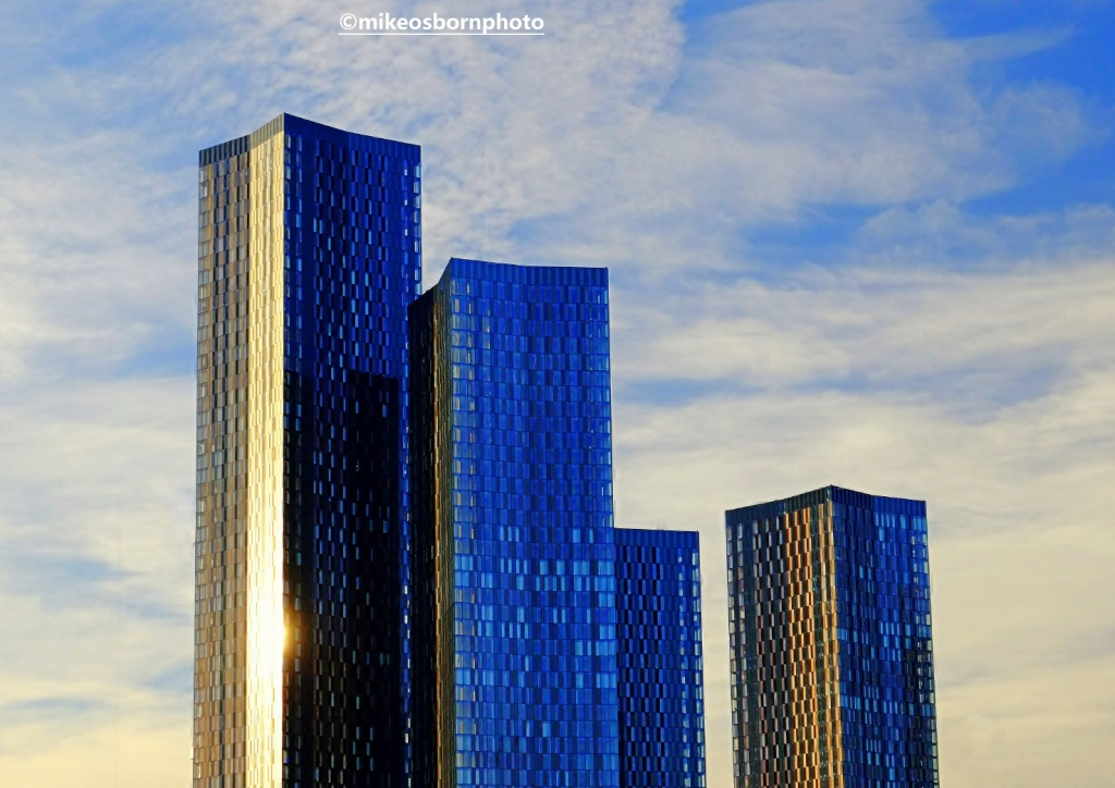Deansgate Square, Manchester at golden hour