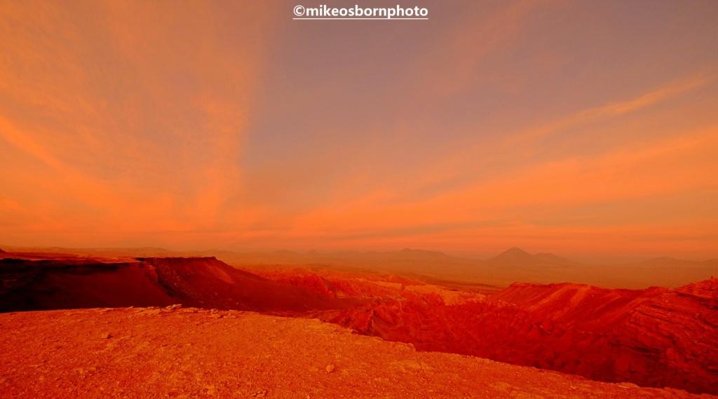 Red sands of Atacama Desert, Chile at sunset