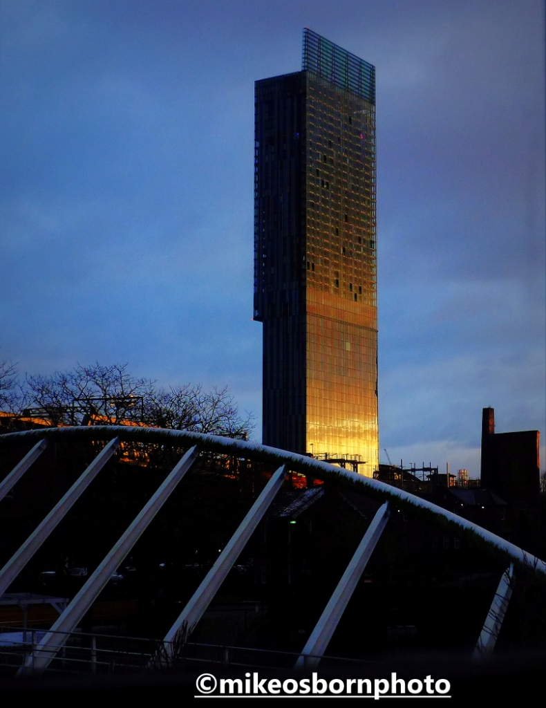 Beetham Tower, Manchester, catches the winter sunlight