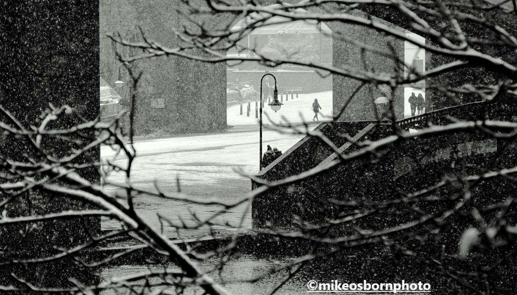 Snowfall on Castlefield Bowl, Manchester