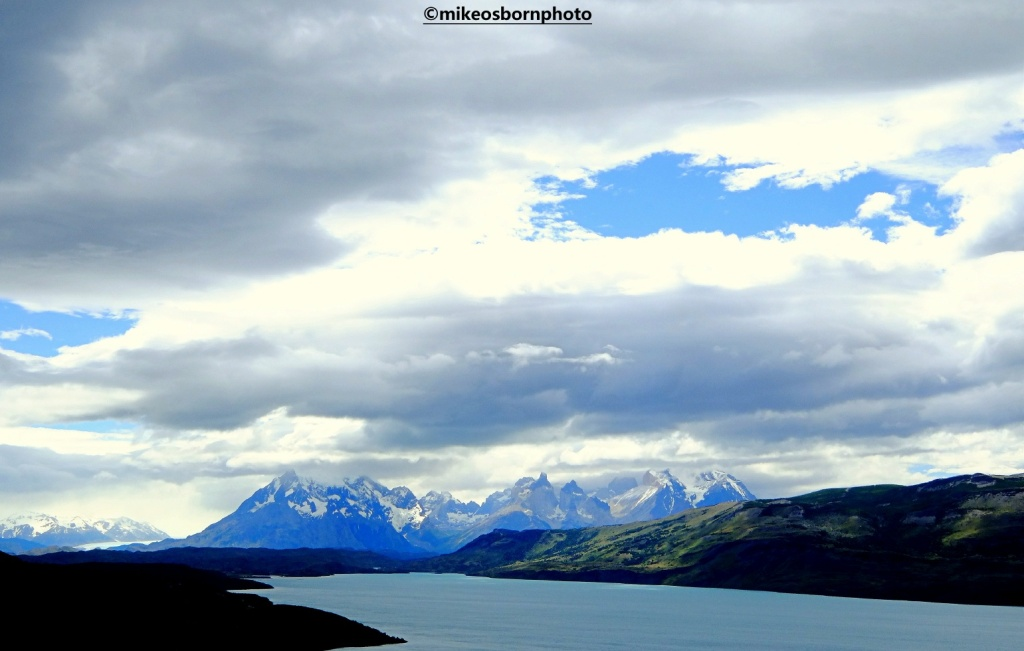 Lake and mountain view of Torres del Paine in Chile