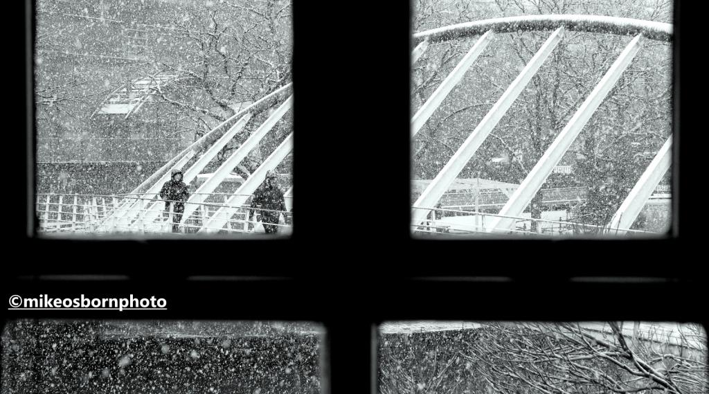 Snowfall on Merchant's Bridge, Castlefield, Manchester