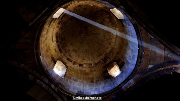 Light coming through a church dome in Armenia