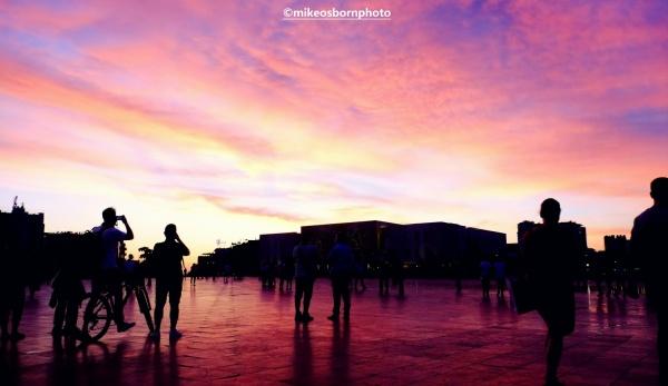 Sunset at Skanderbeg Square, Tirana, Albania