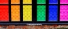 Rainbow window design on Canal Street, Manchester