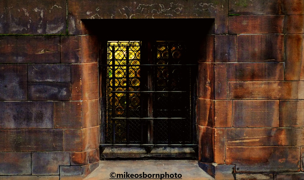Window of Manchester's John Rylands Library