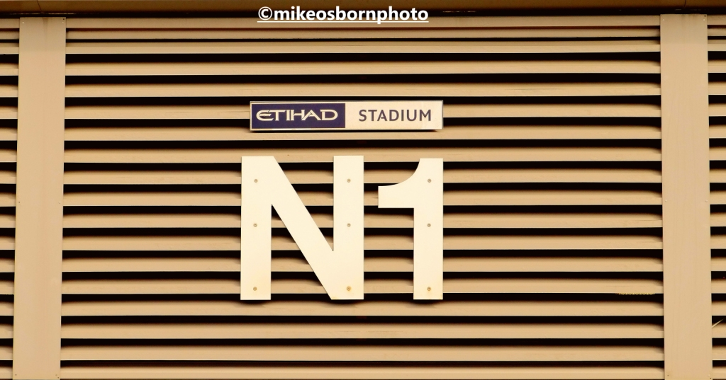 Entrance sign to stand at Etihad Stadium, Manchester