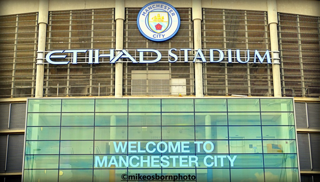 Entrance to Etihad Stadium, home to Manchester City football club