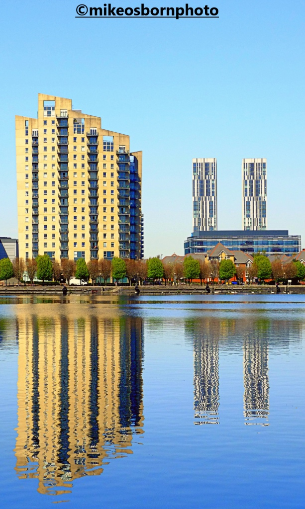 Salford Quays buildings reflected in the Manchester Ship Canal