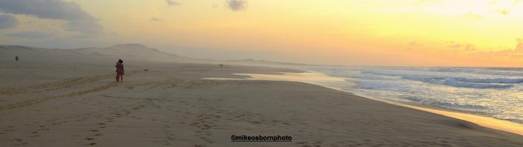A beach at Boa Vista in Cape Verde as sunset falls