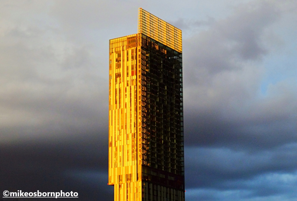 Beetham Tower, Manchester catches the evening golden rays