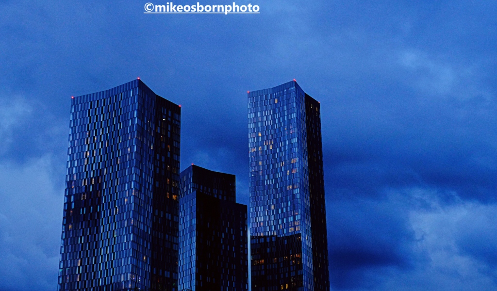 Towers of Deansgate Square, Manchester at lighting up time