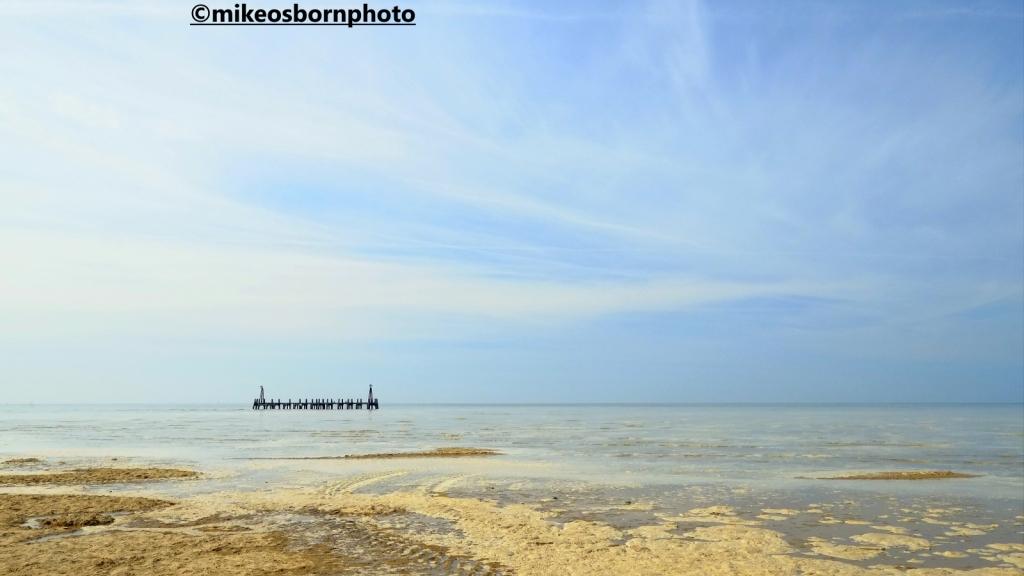 St Anne's beach, Lancashire and pier remains