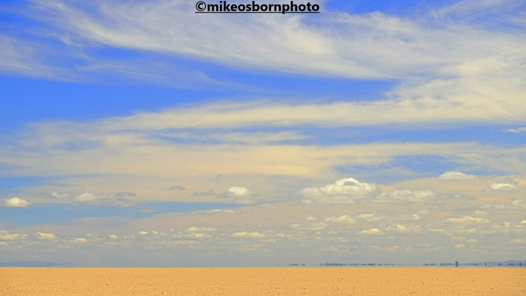 Summer skies over the sands of Hoylake beach, Wirral
