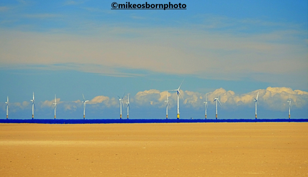 Wind turbines off the Wirral coast