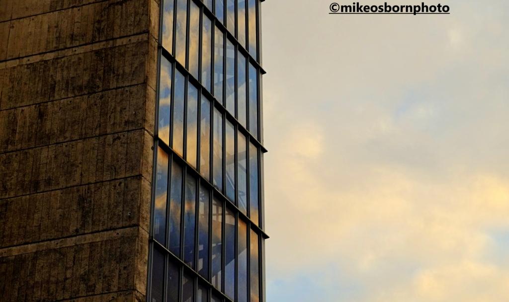 Windows of Hull tidal barrier at dusk