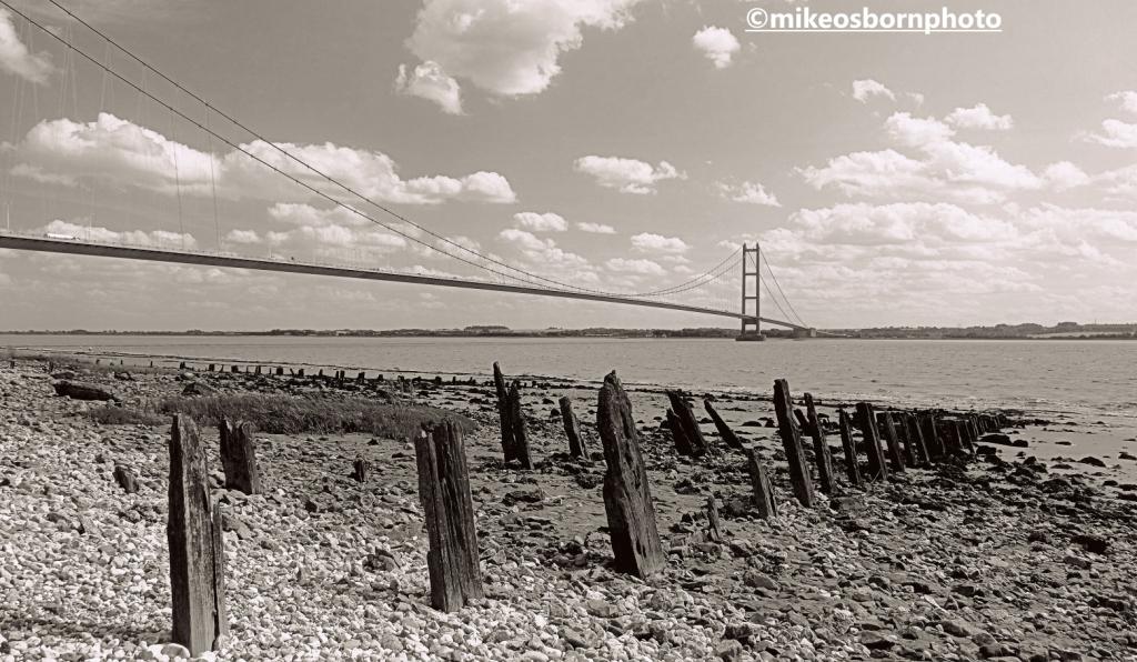 Humber estuary shore and the Humber Bridge