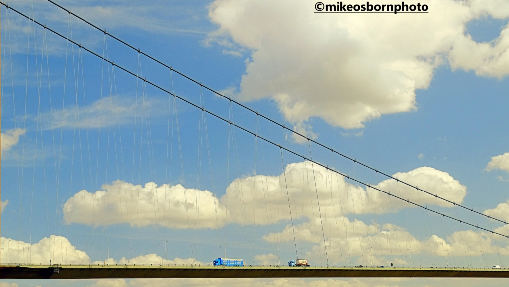 Traffic going along the Humber Bridge