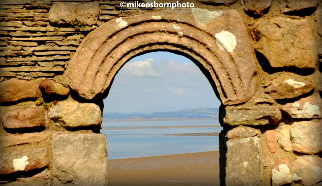 The remains of St Patrick's chapel, Heysham, creating a window on the sea